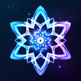 Blue vector shining cosmic abstract snowflake Royalty Free Stock Image