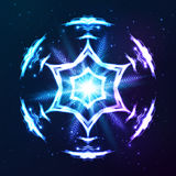 Blue vector shining cosmic abstract snowflake Stock Image