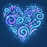Blue vector shining heart on dark-blue background Stock Photo