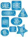 Blue vector tag stickers Stock Photo
