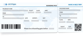 Blue vector template of boarding pass ticket. Concept of trip, journey or travel royalty free illustration