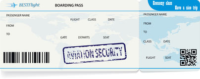 Blue vector template of boarding pass ticket. Concept of trip or travel stock illustration
