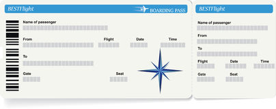 Blue vector template of boarding pass ticket. Concept of trip or travel royalty free illustration