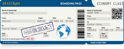 Blue vector template of boarding pass tickets Royalty Free Stock Photos
