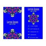 Blue Vector vintage visiting card. Floral mandala pattern and ornaments stock illustration