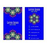 Blue Vector vintage visiting card. Floral mandala pattern and ornaments royalty free illustration