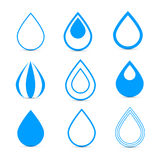 Blue Vector Water Drops Icons Set Royalty Free Stock Images