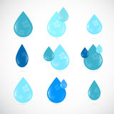 Blue Vector Water Drops Symbols Set Royalty Free Stock Photography