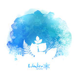 Blue vector watercolor stain with white foliage Royalty Free Stock Images