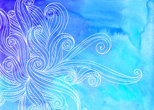 Blue vector watercolor waves background Royalty Free Stock Photo