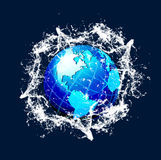 Blue vector world globe with splash effects Royalty Free Stock Photography