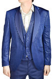 With blue vegetable patterned jacquard, unfastened suit coat wed Stock Photography