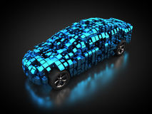 Blue vehicle with abstract carbody. 3D rendering: blue vehicle with abstract carbody Royalty Free Stock Photos
