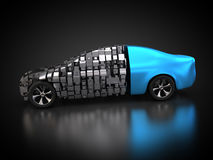 Blue vehicle with abstract carbody. 3D rendering: blue vehicle with abstract carbody Stock Images