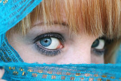 The blue veil. Enticing - blue eyes and a blue veil stock photography