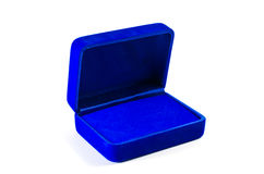Blue velvet box. Royalty Free Stock Photos