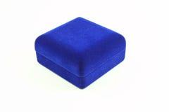 Blue velvet box on white background Royalty Free Stock Photography