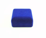 Blue velvet box on white background Royalty Free Stock Images