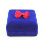 Blue velvet box on white background Royalty Free Stock Photo
