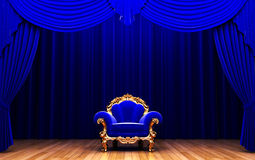 Blue velvet curtain and chair Stock Photo
