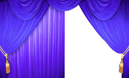 Blue velvet curtains Stock Image
