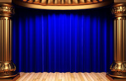 Blue velvet curtains behind the gold columns Royalty Free Stock Photos