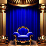 Blue velvet curtains, gold columns and chair Stock Photography
