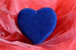 Blue velvet heart Royalty Free Stock Photography