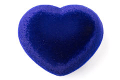 Blue velvet Heart shape box Stock Photos