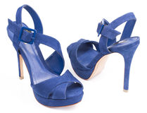 Blue Velvet High Heel Shoes Royalty Free Stock Images