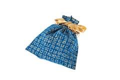 Blue velvet pouch Royalty Free Stock Image