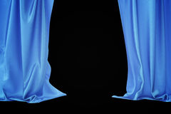Blue velvet stage curtains, scarlet theatre drapery. Silk classical curtains, blue theater curtain. 3d rendering Stock Image