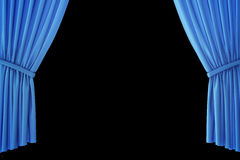 Blue velvet stage curtains, scarlet theatre drapery. Silk classical curtains, blue theater curtain. 3d rendering Stock Images