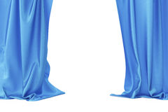 Blue velvet stage curtains, scarlet theatre drapery. Silk classical curtains, blue theater curtain. 3d rendering Stock Photos