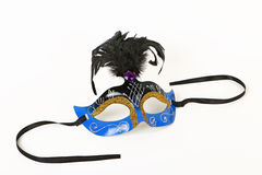 Blue Venetian Mask with Feather Stock Photography