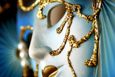 Blue venetian mask macro Royalty Free Stock Images