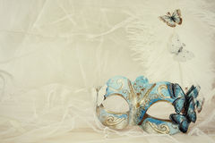 blue venetian mask next to pearls Stock Images