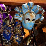 Blue Venetian Masks Venice Italy. Used since the 1200s for Carnival, which were celebrated just before Lent.  In ancient times, Masks allowed the Venetians to Royalty Free Stock Photography