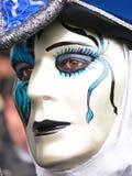 Blue Venice mask. Close up of a blue venice carnival mask Stock Photos