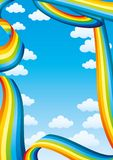 Blue vertical banner with rainbows. Blue vertical banner with rainbows with place for text stock illustration
