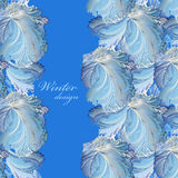 Blue vertical border winter frozen glass background. Text place. royalty free illustration