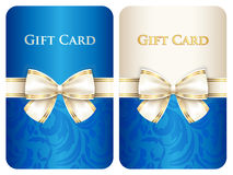 Blue vertical gift card with damask ornament and c. Ream diagonal ribbon Stock Photography