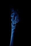 Blue vertical smoke on black Stock Photography