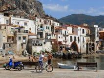 BLUE VESPA IN CEFALU, SICILY, ITALY Royalty Free Stock Image