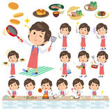 Blue vest man cooking. Set of various poses of blue vest man cooking Royalty Free Stock Photo