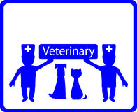 Veterinary background with dog, cat and doctor Royalty Free Stock Image