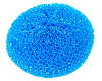 Blue vibrant plastic scourer. Isolated on white background Royalty Free Stock Image
