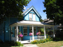 Blue Victorian style house. Typical style of houses in the Kootenays, BC Canada stock images