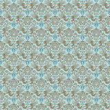 Blue victorian vintage damask seamless wallpaper. With bird, scrolls and flourishes Stock Images