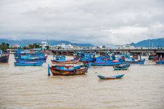 Blue Vietnamese boats on the river royalty free stock images